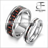 Unisex Tungsten Carbide Couples Ring Wedding Band with Black and Red Carbon Fiber Inlay