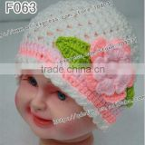 Wholesale 100% cotton baby crochet beanie hat flower, knitting patterns for beanie hats ,girls fashion hats