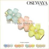 plastic hair barrettes clips pastel color samall flowers osewaya japan
