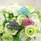 Fashion crown shape rhinestone buckle for wedding ribbon slider