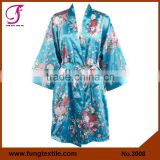 FUNG 3008 Women Floral Satin Bath Robe