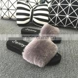 Pretty cute Real Rex Rabbit Fur Shoes Wholesale Women Slipper Flip Flop