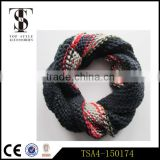 fashionable knitting scarf loop type 100% acrylic tie-dyeing colorful snood loop ladies accessories