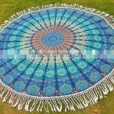Tassel Roundie Blue Mandala Roundie Indian Tapestry Hippie Gypsy Boho Beach Throw Table Cloth Tapestry Mandala Roundie