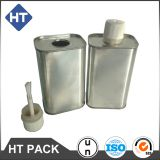 1l square silver glue can,1 litre rectangle glue can with plastic neck and plastic cap and plastic brush,adhesive can