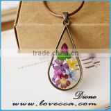 Unisex Fashion Natural Real Dried Flower Round Glass Pendant Necklace New Jewelry