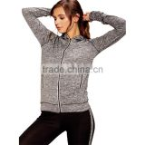 Brazilian Gym Wear Clothing Wholesale Zip Front Grey Hooded Jacket Side Pockets Sports Running Women Gym Wear 2017