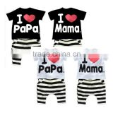 Summer Children baby Clothing clothes Set Boys Girls I Love Papa and Mama Short Sleeve T-shirt + Pants Pajamas Set SV001838