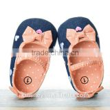 KS50092X Lovely bowknot design denim fabric fancy baby girls shoes