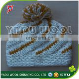 Handmade crochet hat for sale / winter knitted hat with ball top / pom pom beanie hats wholesale