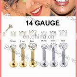 Internal treaded 14g lip rings gold body piercing jewelry with shiny crystal
