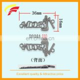 zinc alloy cut out 3D logo label , metal sewing label with custom letters