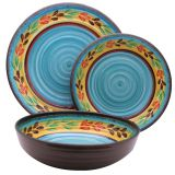 New arrival whirlpool Melamine Round plate and bowl sets tableware dinner sets