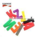 Double side hook and loop alphabet letters for T-shirt garments shoes