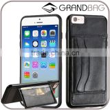 Black ID card phone cover genuine leather phone case with card slot Leather wallet case for iPhone 6 6s