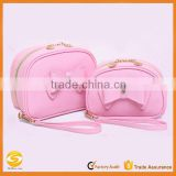 OEM Cute pink pu leather cosmetic bag pouch,high quality travel organizer makeup bag,funky cosmetic bag as makeup bag