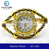 beautiful crystal watch glass face bangle watches for girls vintage retro wrap bracelet watch