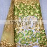 YL009-1 gold color chemical lace embroidery fabric gold thread swiss tulle fabric