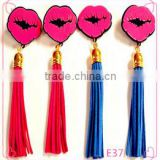 Blue Hot pink PU Leather Tassel Lips Dangle Earrings 2016 New Arrival Brincos Longos For Women