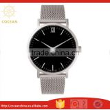 Black Dial Stainless Steel Mesh Strap Men Women Slim Classic Watch with Miyota Movt                                                                         Quality Choice