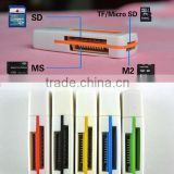 External USB 2.0 4 in 1 Multi Memory Card Reader For SD TF T-Flash M2 Card C1