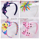 wholesale baby girls colorful coconut tree ribbon hairbows kids hair headband bows infant hair bows hair accessory