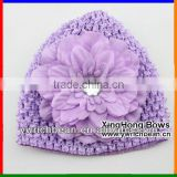 New style kid crochet hat with flower Knitting crochet pattern hat cute baby croche pink hats caps with large flowerFH-59