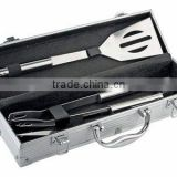 3pcs small S/S handle bbq tools set with portable aluminum case