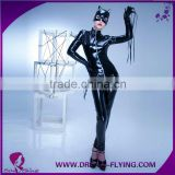 Women sexy zipper front catsuit faux leather pvc vinyl latex suit with mask