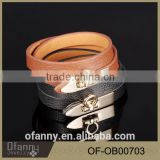Latest fashion contracted personality leather bracelet stainless steel buckle bracelet for boys
