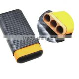 3 cigar tube carbon fiber exterior cigar humidor case yellow lined solid spain cedar wood