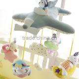 ISO8124 factory wholesale 100% knitted cotton fabric baby musical mobile toy with hanging toys