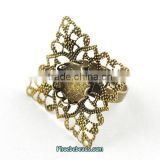 Wholesale Rhombus Hollow Out Antique Copper Jewelry Ring Components PB-J120408