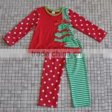 factory price winter cotton red green top and pant christmas tree boutique outfits for children