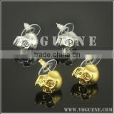 INQUIRY about inlaided diamonds skull head stainless steel ear stud earrings