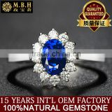 18K Gold Inlay Natural sapphire ring Diana Sri Lanka color gem wholesale female models