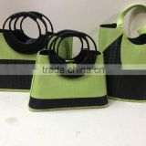 High quality Best selling eco-friendly set of 3 black and green bamboo tote handmade bag with handle made in vietnam
