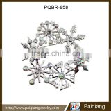 Latest design hot selling fashion silver cheap crystal winter snowflake brooch