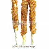 MJN16 Salmon wrap bleached cowhide stick private label dog dental training treats premium natural O'dog myjian