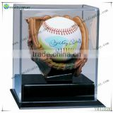 Wood Base And Arcylic Covered Soft Brown Glove Baseball Display Case UV Protection YM4105W