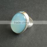 Natural Blue chalcedony ring 92.5 sterling silver jewellery