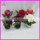 mini artificial rose flower bonsai with ceramic pot