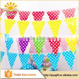 Hot sale party banner colorful dot string flag cheap party pennant decorations