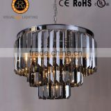 MC20538-9 Medium Size Chrome Body Smoky Crystals Chandelier Pendant Lighting Crystal Glass Industrial Light