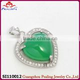 2014 fashion wholesale chrysoprase 925 sterling silver pendant bail