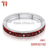 3mm Aohua Jewelry Stainless Steel Comfort fit Womens Rings Designs, January Garnet birthday ring gift