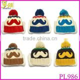 New Unisex Baby Boys Girl Winter Knitted Hats Mustache Children's Earflap Thicken Warm Skulls Beanies Fashion