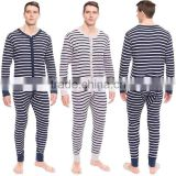 Plus size adult onesie pajamas Long Sleeve Stripe Waffle Knit mens onesie