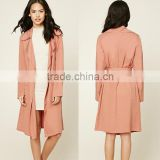 Clothing Manufacturers Slim Fit Office Lady Wear Belted Waist Design Mature Women Woven Belted Trench Coat Jacket
