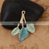 Zinc Based Alloy Enamel Flower Garden Style Pendants Leaf Gold Plated Light Green